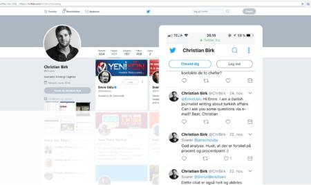Journalist fra Kristeligt Dagblad sender Tweet til Emre Uslu, der er eftersøgt af den Tyrkiske regering for terrorisme.